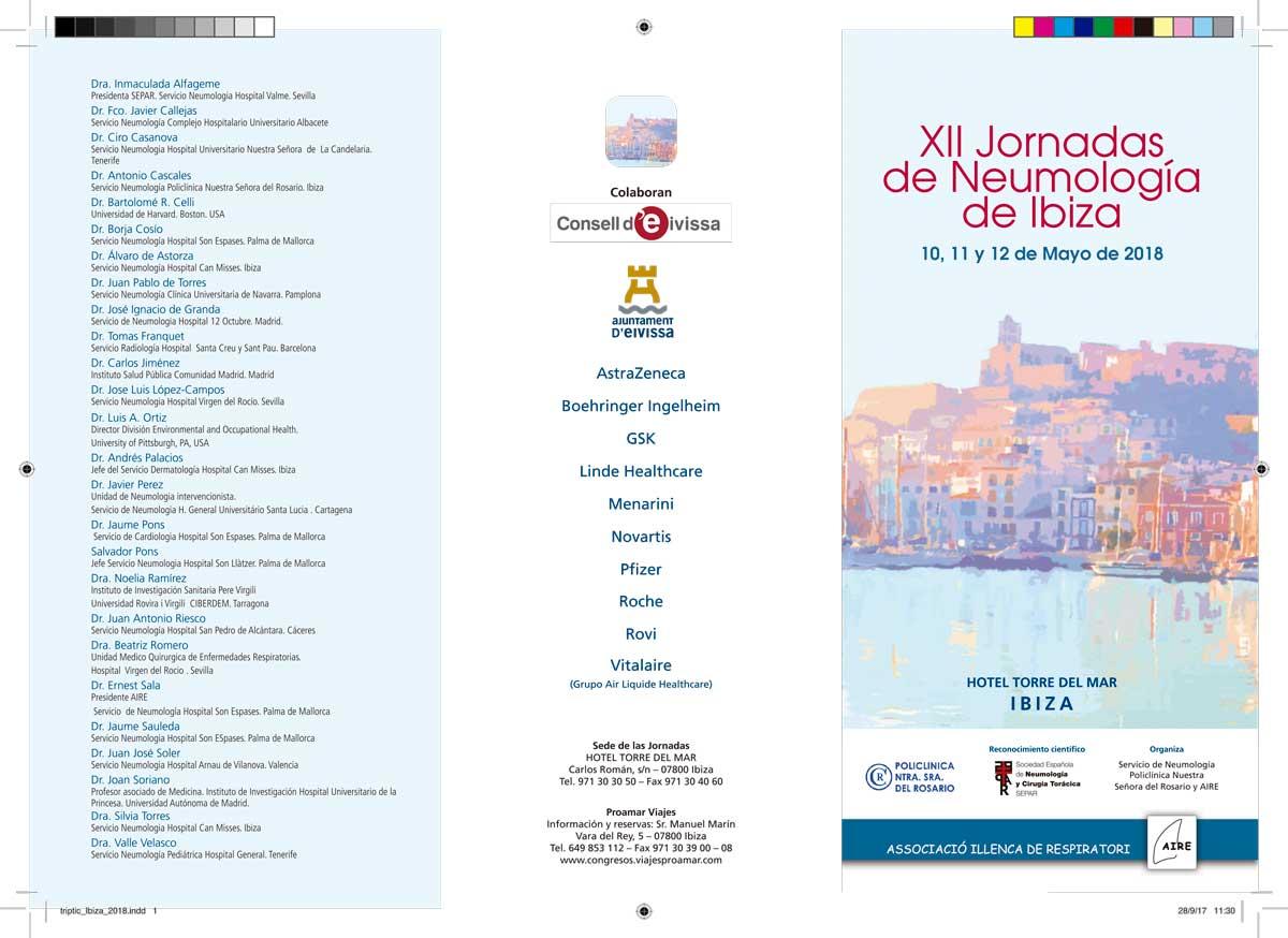 Las XII Jornadas de Neumología de Ibiza reunirán a 250 neumólogos en el Hotel Torre del Mar 2