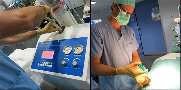 Dr. Pedro Llinás aplicando ozonoterapia